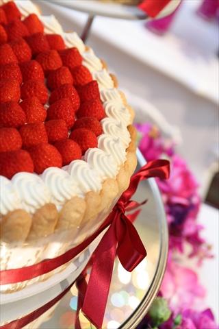 ビスキュイでケーキを囲んだシャルロット風の可愛いケーキ